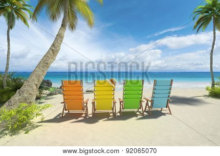 3D rendering of four colorful chairs on the beach