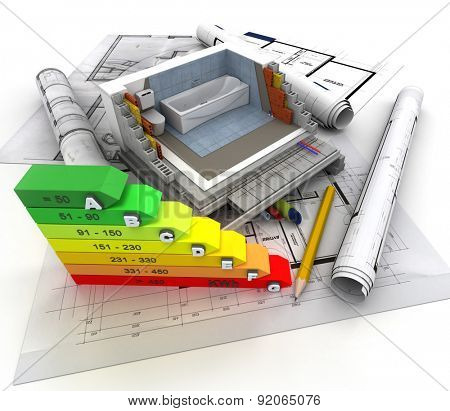 3D rendering of technical details of construction, toilet and energy efficiency chart