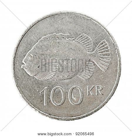 Icelandic 100 krona coin isolated