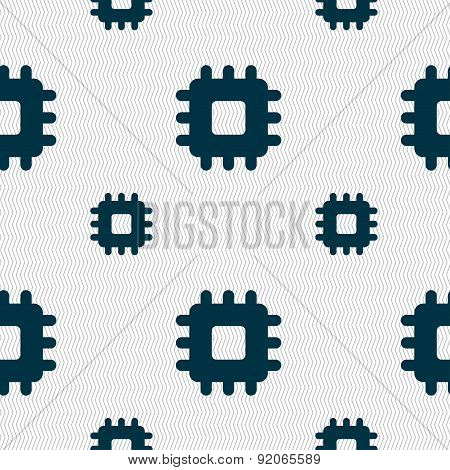 Central Processing Unit Icon Sign. Seamless Pattern With Geometric Texture. Vector