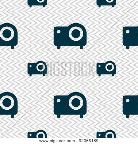 Projector Icon Sign. Seamless Pattern With Geometric Texture. Vector