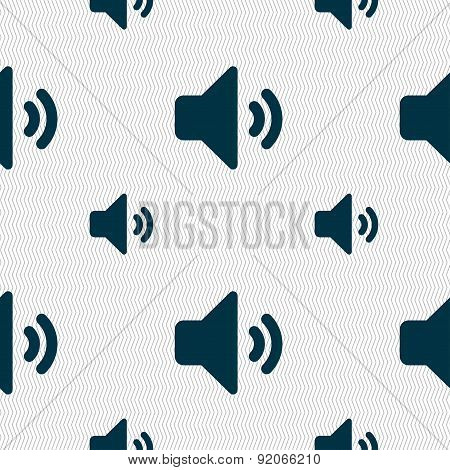 Speaker Volume, Sound Icon Sign. Seamless Pattern With Geometric Texture. Vector