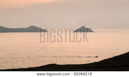 Sunset Near Doyden Castle On Coastline At Port Quin