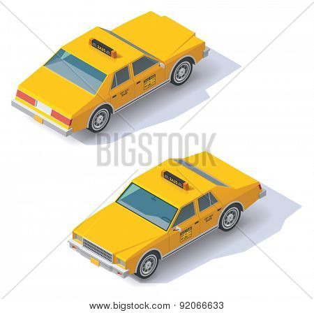 Set of the isometric taxi cab with front and rear views