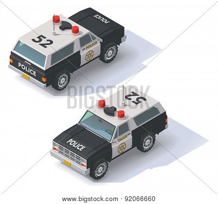 Isometric black and white police SUV icon