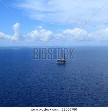 Aerial View of Offshore Jack Up Drilling Rig