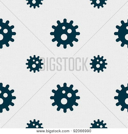 Naval Mine Icon Sign. Seamless Pattern With Geometric Texture. Vector