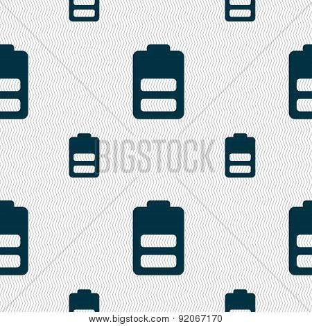 Battery Half Level, Low Electricity Icon Sign. Seamless Pattern With Geometric Texture. Vector