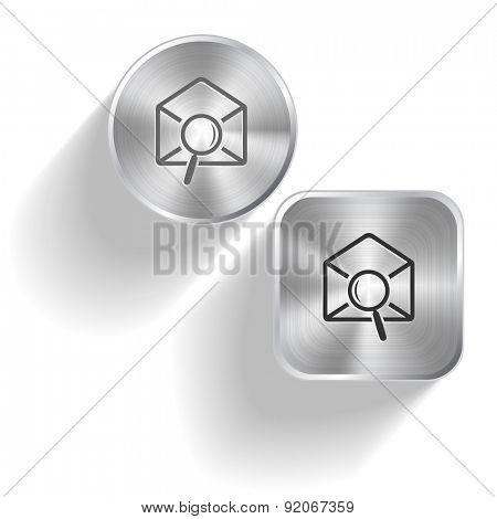 mail find. Vector set steel buttons