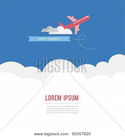 Airplane in the sky, have a great vacation card