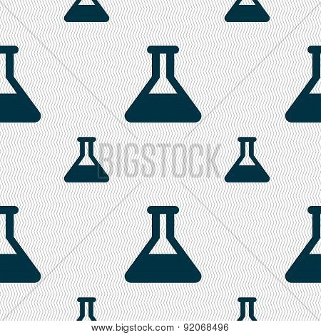 Conical Flask Icon Sign. Seamless Pattern With Geometric Texture. Vector