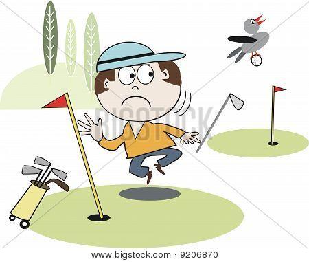 Funny golfer cartoon