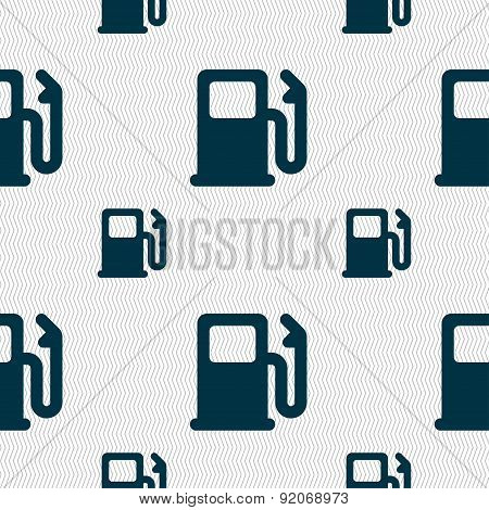 Petrol Or Gas Station, Car Fuel Icon Sign. Seamless Pattern With Geometric Texture. Vector