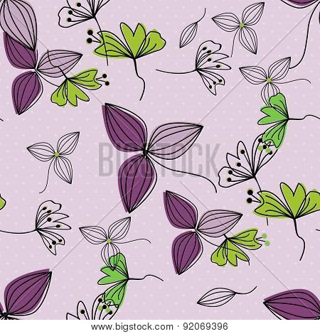 Flowers Seamless Pattern Simple Background