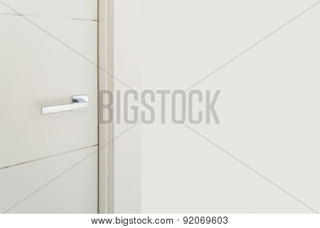 Interior modern house, detail of a door with steel handle