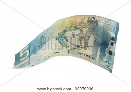 Canadian 5 Dollar, isolated on white