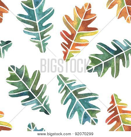 Watercolor Oak Leaves Seamless Pattern