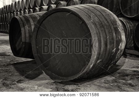 Barrel For Wine Or Whiskey In White And Black