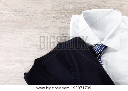 Men elegance clothes on wooden background