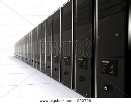 3D Computer Servers In A Data Center