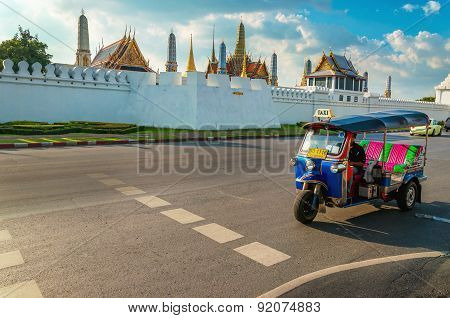 Tuk tuk and Bangkok's Grand Palace, Thailand