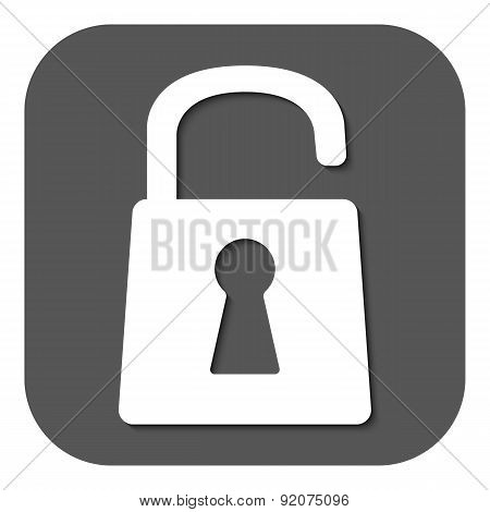 The Open Lock Icon. Lock Symbol. Flat
