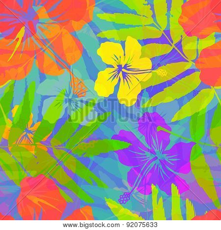 Bright tropical flowers vector seamless pattern