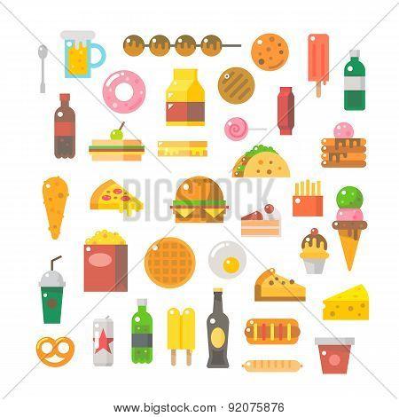 Flat Design Of Junk Food Set