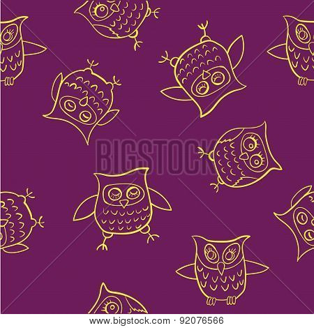 yellow pattern funny owl vector illustration