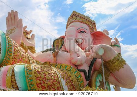 Ganesha statue of Prachinburi, Thailand in cloudy sky