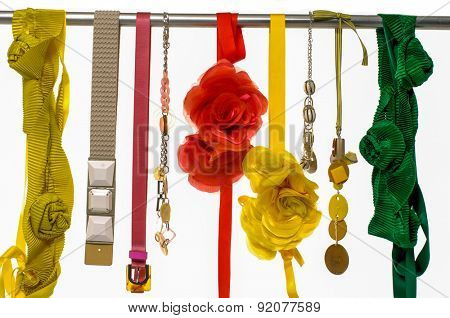 Set of woman belts and flower made of silk and satin dangle