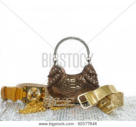 summer accessories on white background