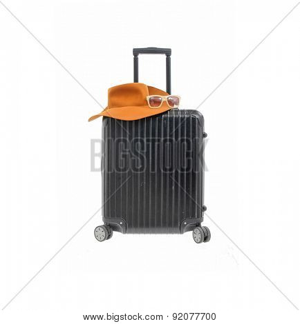 Woman hat with polycarbonate suitcase isolated on white