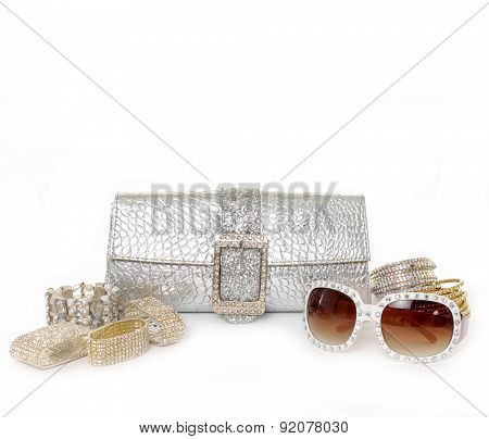summer accessories on white background