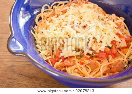 Italian Pasta With Ham, Tomato And Champignon Mushrooms