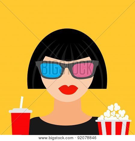 3D Glasses Big Popcorn And Soda. Brunet Girl At The Cinema Theatre Flat Dsign Style Icon.