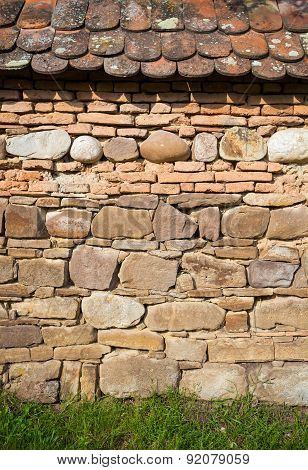 Rustic Wall With Layers Of Different Comstruction Materials