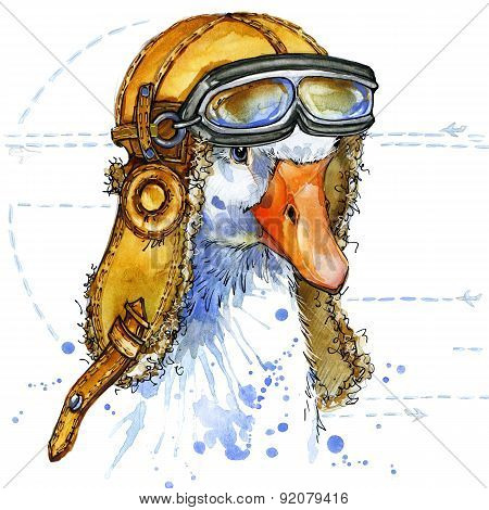 Funny goose aviator hat with watercolor background. fashion print