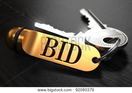 Keys With Word Bid On Golden Label.