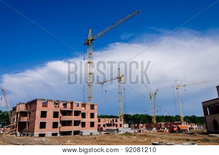 Construction Of A Small Suburban Brick House. Construction Machinery.