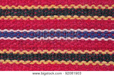 Striped Hand Woven Fabric Background