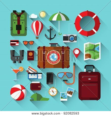 Flat icons set of planning a summer vacation