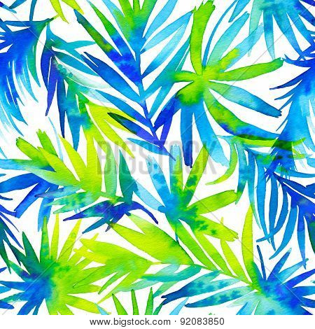 Seamless Pattern With Abstract Palm Leaves.