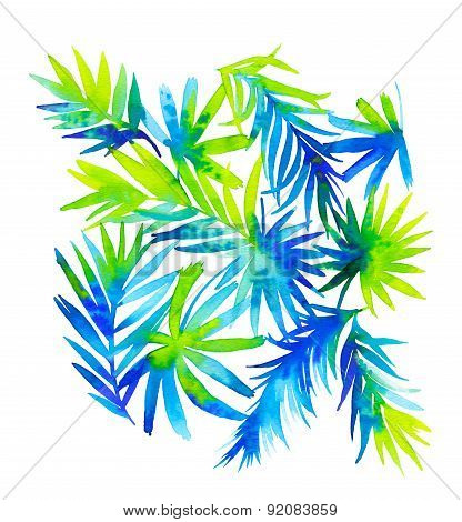Palm Leaves, Tropical Artistic Illustration