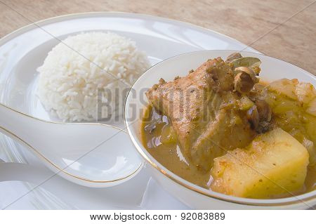 Chicken Mussaman Curry In Bowl And Rice