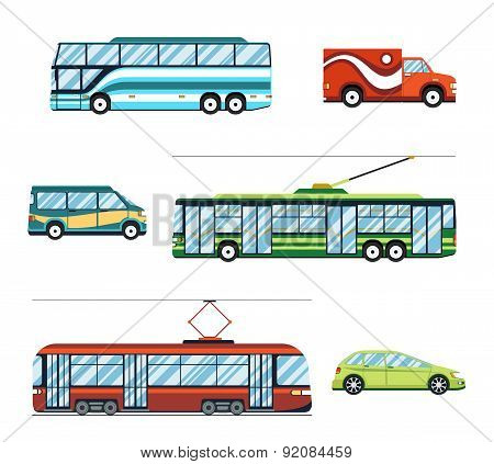 City transport flat icons