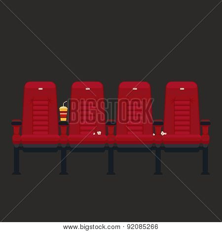 Vector cinema chairs in flat style