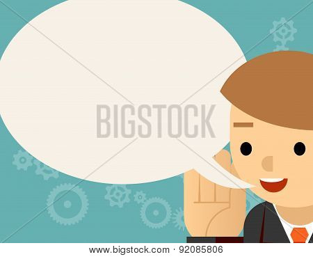 Speaking. Businessman and speech bubble