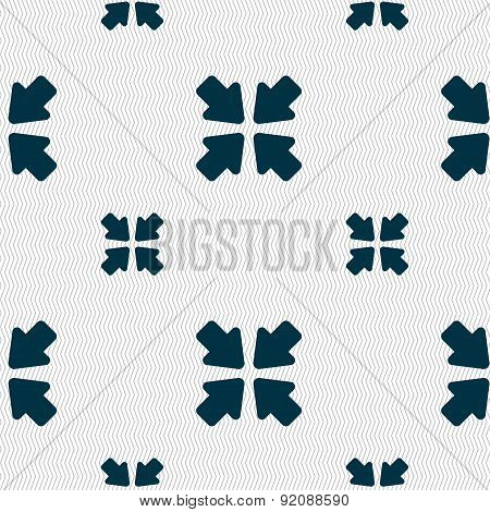 Turn To Full Screen Icon Sign. Seamless Pattern With Geometric Texture. Vector