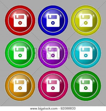 Floppy Icon Sign. Symbol On Nine Round Colourful Buttons. Vector